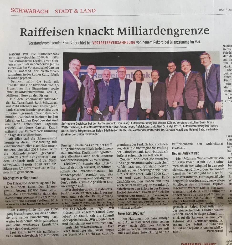 Zeitungsartikel über die Raiffeisenbank Roth-Schwabach